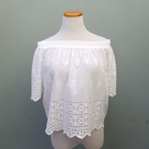 Forever 21 Off Shoulder Embroidered Top White M